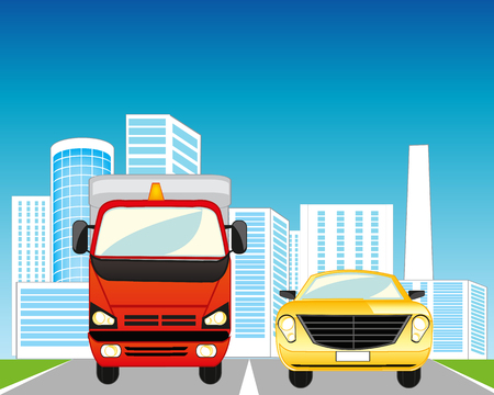 sectoring: The City and road with two cars. Vector illustration