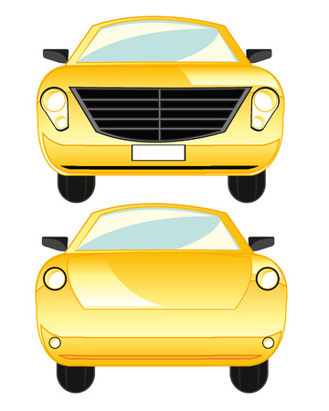 The Yellow passenger car type frontal and behind. Vector illustration Illustration