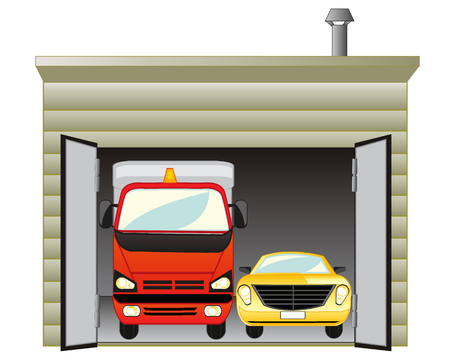 The Open garage with two cars inwardly
