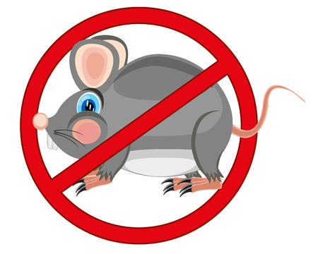 rodent: Red sign forbid bad rodent of the rats and mouses
