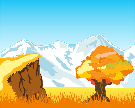 Autumn landscape with mountain and solitary by tree Illustration