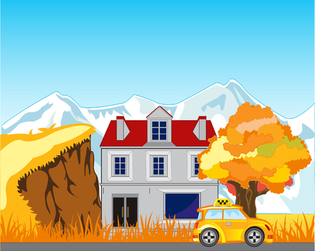 Bright autumn landscape with house and expensive
