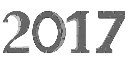rifts: Decorative numerals from stone on white background is insulated