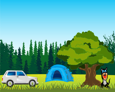 glade: The Tent and car on year glade Illustration