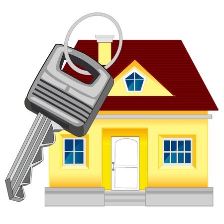 Small lodge and key from door on white background Illustration