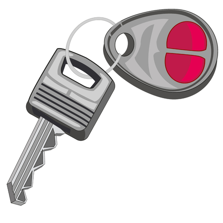 open car door: Key from car on white background is insulated