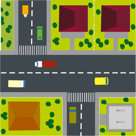 overhand: The town Card with road and house Illustration