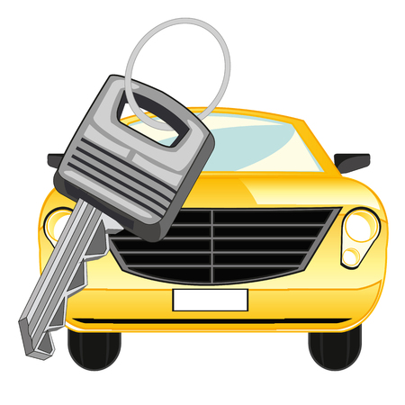 open car door: Passenger car and key on white background is insulated