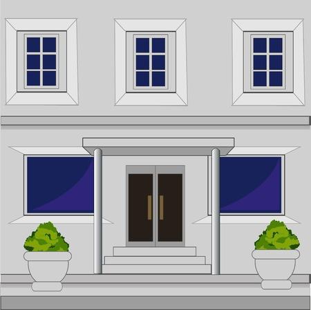 front porch: Facade of the big building sulphur colour
