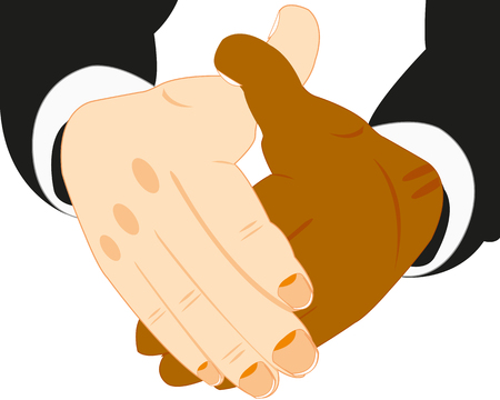 nationalities: Handshake of the people of the different nationalities on white background Illustration