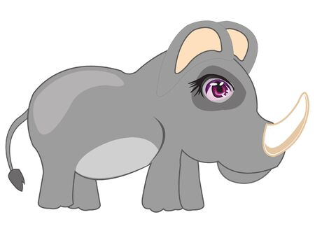 insulated: Animal rhinoceros on white background is insulated Illustration