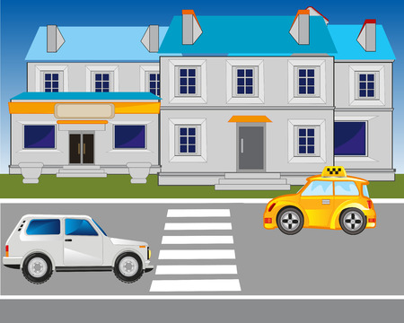 sectoring: The Road in city and pedestrian crossing.Vector illustration Illustration