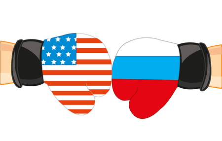 Boxing gloves in colour flag to russia and usa