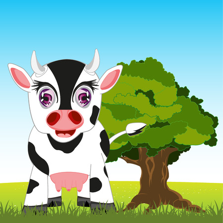 udders: Pets animal cow on year glade.Vector illustration