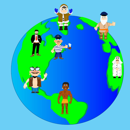 mankind: Planet land with continent and country and people Illustration