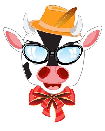 Head of the cow bespectacled and hat on white background Illustration