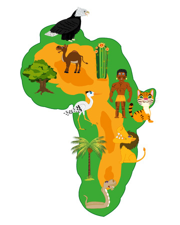 fauna: Living nature and plants of the continent africa on white background