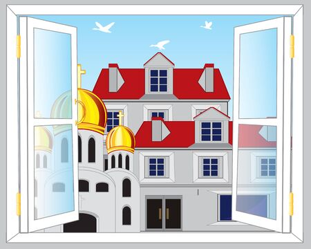 city view: The Open window and view on city. Illustration