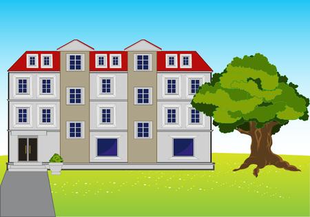 The Modern big mansion on year meadow.Vector illustration Illustration
