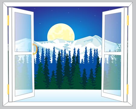 wood window: Open window and beautiful view on mountains and wood in winter