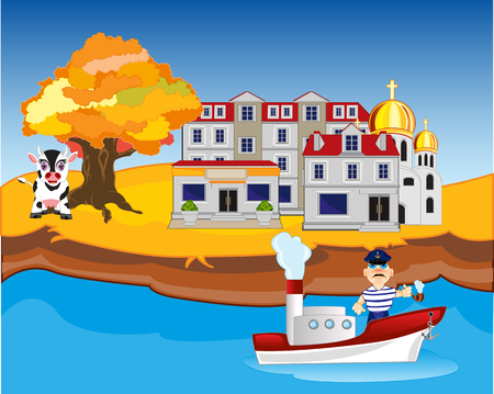 Small city ashore ocean by autumn and steamship Illustration