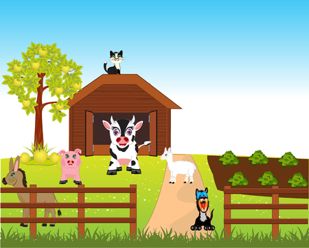 aple: Much pets animal on rural farm. Illustration