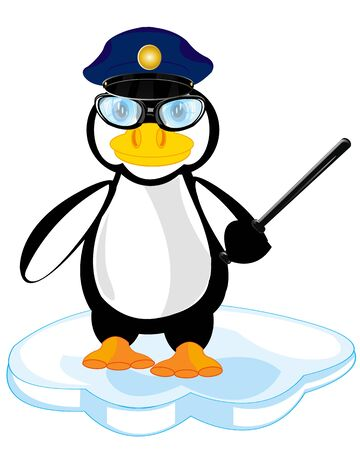 truncheon: Nursery cartoon birds of the penguin police on white background