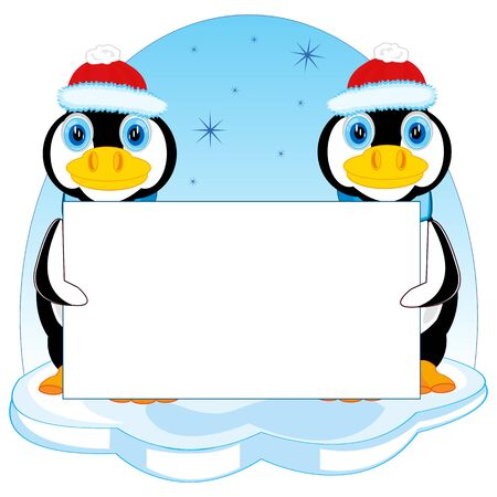 Penguins in hat on block of ice with poster Illustration