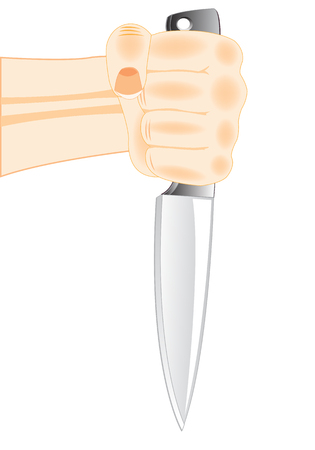 prick: Sharp knife in hand of the person on white background