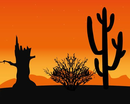 Landscape to deserts with cactus and dry tree