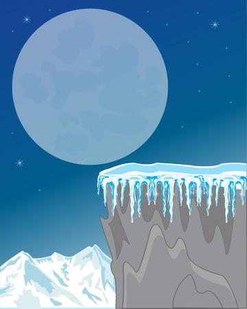 breakaway: Night in mountain in winter