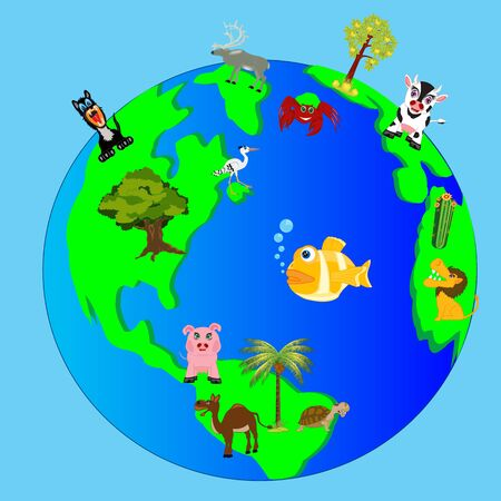 Living nature of the planet land Illustration