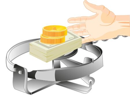trap: Money in trap as bait and stretching hand of the person