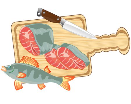 Piece of fish on white background is insulated Illustration
