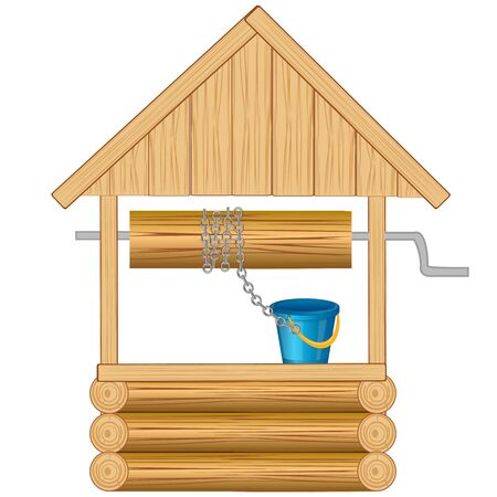 rural wooden bucket: Pit for water