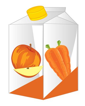 Carton with fruit by juice on white background is insulated Illustration