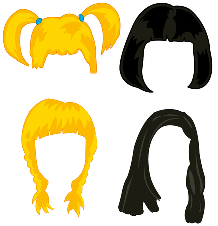 adolescent: Feminine wigs on white background is insulated Illustration