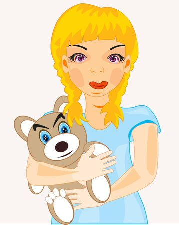 Girl teenager with plush teddy bear in hand Illustration
