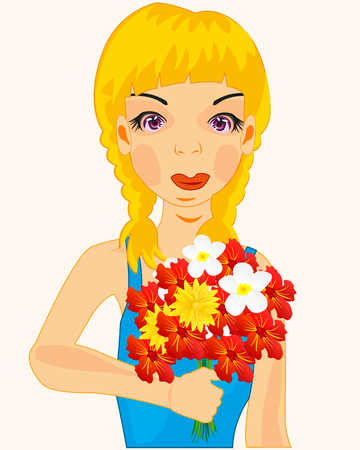 Beautiful girl teenager with bouquet flower on white background
