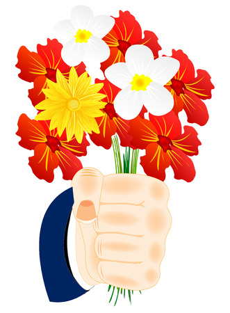 Bouquet beautiful flower in hand of the person Illustration