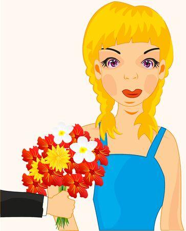 Girl present flower Illustration