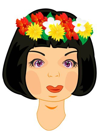 Wreath on head of the girl Illustration