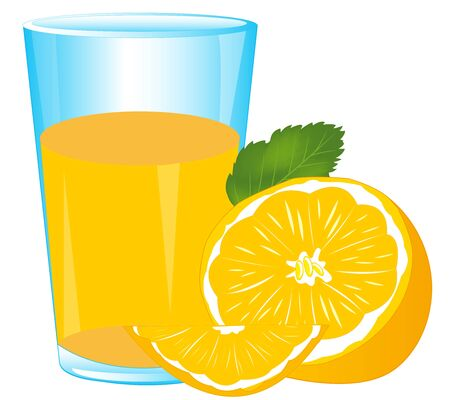 pulp: Glass of juice from fruit tangerine on white background