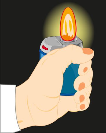 Hand with cigarette-lighter in the dark