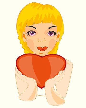 Girl with heart Illustration
