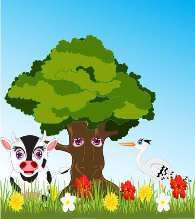 Tree and animals on glade