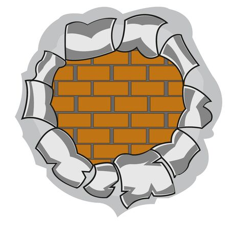 Torn hole and wall from brick on white background