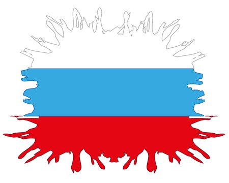Flag to Russia in the manner of inkblots on white background Illustration