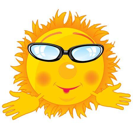 Cartoon sun bespectacled