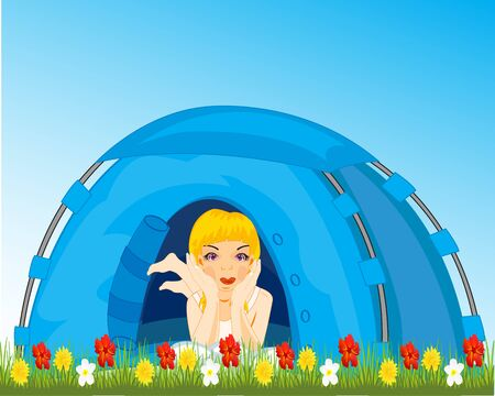 Girl reposes in tourist tent on meadow with flower Illustration